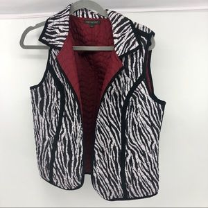For Cynthia Reversible Burgundy Zebra Quilted Vest